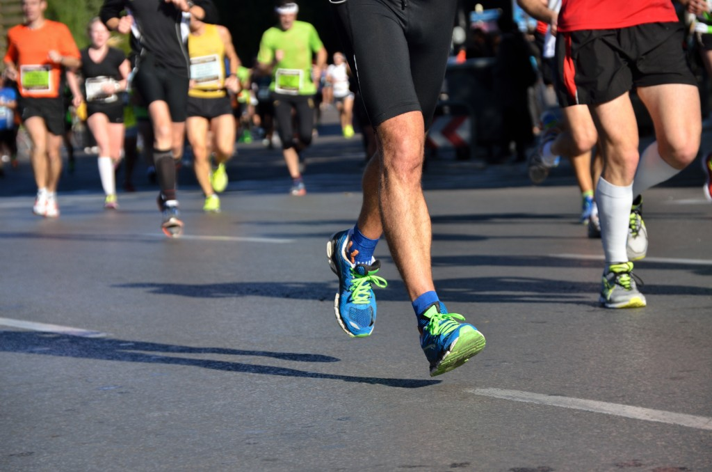 24263879 - marathon running race, people feet on road, sport, fitness and healthy lifestyle concept